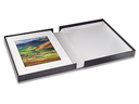"Black Portfolio Box, White Lining, 8 1/2"" x 10 1/2"" x 2"""